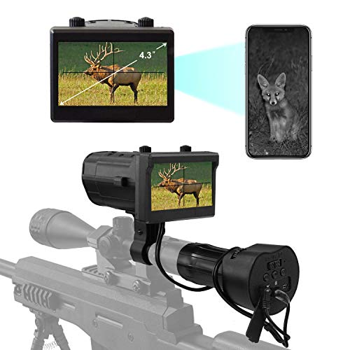 """Digital Night Vision Scope Recorder for Rifle Hunting with WiFi Function Recording Photo or Video from 2.4"""" LCD Screen Use for Night Hunting Up to 200 Meters / 656ft /218 Yards"""