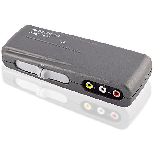 Audio Video RCA Umschaltbox Switch, 3 Cinch Buchse Kupplung IN, 1 Cinch Buchse Kupplung OUT, Grau