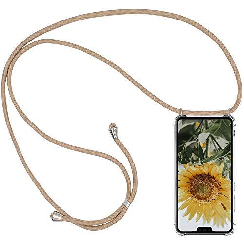 CLM-Tech Carcasa con Cuerda para Colgar Compatible con Xiaomi Mi 8 Lite - Funda Silicona Transparente con Cordon para Llevar en el Cuello, Oro Rosa
