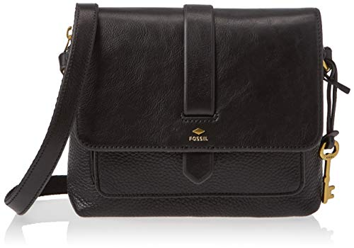 Fossil Women's Kinley Leather Small Crossbody Purse Handbag, Black