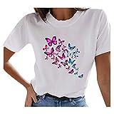 Camiseta de verano para mujer, elegante, multicolor, con diseño de mariposas, palomas, diente de león, plumas, multicolor,...