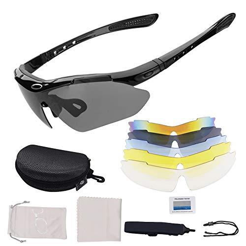 Gafas De Sol Polarizadas,Gafas de Sol Deportivas,con 5 Lentes Intercambiables UV400 Protección Antivaho Antireflejo Anti Viento,Correr Golf Beisbol Surf Conducción Esquiando UV400 Protección