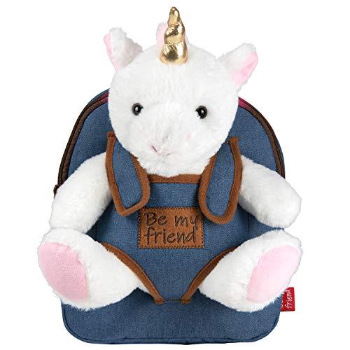 PERLETTI Kuscheltier Einhorn Rucksack für Kinder mit Plüschtier - Pluschspielzeug Weich Flauschig und Kindergarten Schultasche mit Plüsch Unicorn - Baby 2/5 Jahren Kindertasche 27x21x9 cm (Einhorn)