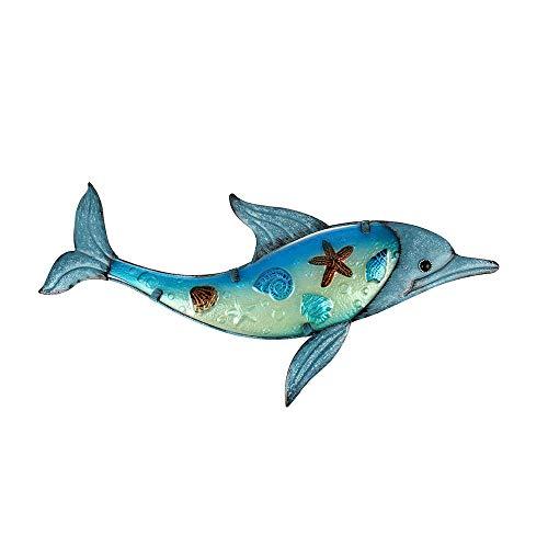 Liffy Decorazioni da Parete in Metallo con Delfino Decorazioni in Vetro per Esterni Appese Decorazioni di Pesci con sculture di Mare per Piscina, Patio o Bagno