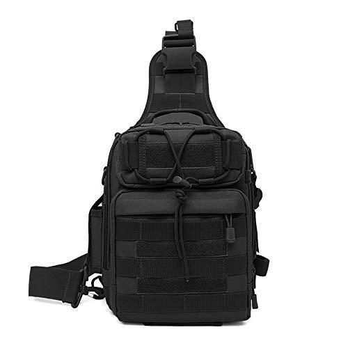 Huntvp Taktisch Schultertasche Militär Brusttasche Wasserdicht Sling Rucksack Crossbody Bag Multifunktion mit Verstellbar Schultergurt für Sport Angeln Outdoor, Schwarz