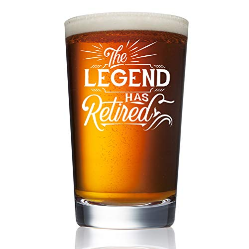 Retirement Gifts for Women Men Coworker Boss Supervisor Employee - The Legend Has Retired 16 oz Pint Glass - Retiring Present Ideas Party Decorations Mug Cup - Best Craft Beers Cool Funny Mug Glasses