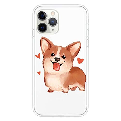 Miagon Transparent Hülle für iPhone 12,Corgi Muster Kreativ Süße Durchsichtig Klar Soft Ultra Dünn Silikon Case Cover Schutzabdeckung