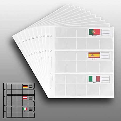 10 Prophila Kobra Münzhüllen für 3 komplette €-Kursmünzensätze für je 8 Münzen, mit 5 weißen Karton-Zwischenbl. + 23 Flaggen