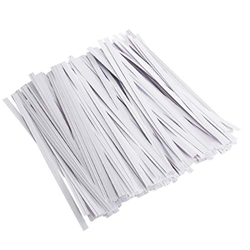 Unves 200 Pcs White Paper Twist Ties Reusable Bread Ties for Bags Candy Coffee Cello Cake Pops (5 Inches)