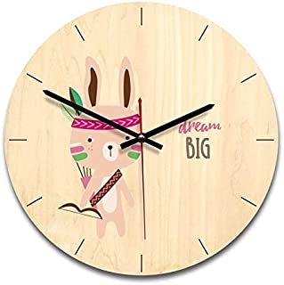 Wall Clocks - Wooden Creative Wall Clock Stylish Cartoon Indian Image - Analog Zones Office Ticking Rose Crystal Small Large Grey Iron Living Pendulum Purple Roman Sturdy Rustic Decorative