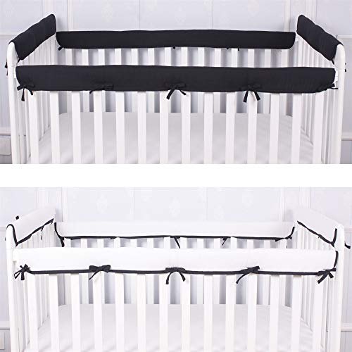 CaSaJa 4-Piece Soft Reversible Crib Rail Cover Set for Entire Crib Rails, Safe Breathable Padded Batting Inner for Baby Teething Guard, Fits Up to 8' Around or 4' Folded, Black/White Color