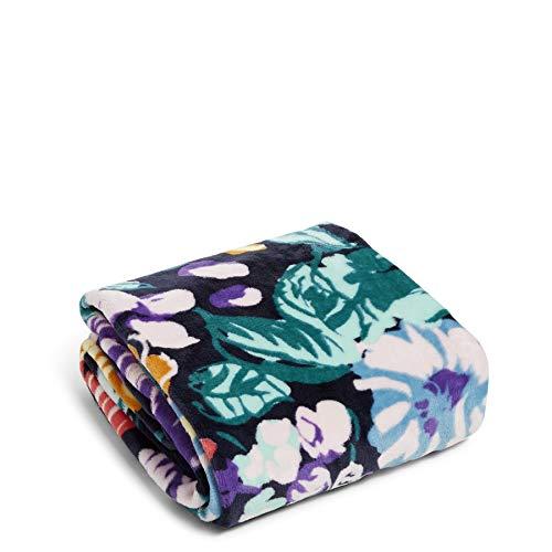 Vera Bradley Fleece-Plüsch-Überwurf-Decke, Blau (Happy Blooms), Einheitsgröße
