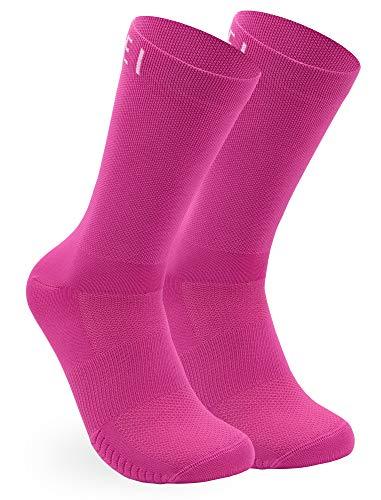 NORTEI Calcetines Rosas para Ciclismo, MTB y Running de Caña Alta para Hombre y Mujer – Infinity Pink (M (40-42))