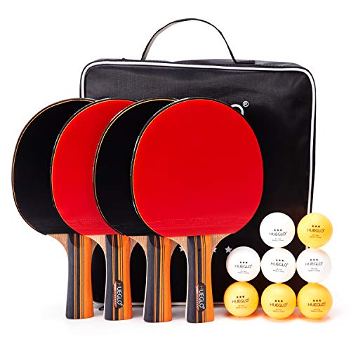 Cheapest Price! HUEGLO Outdoor Ping Pong Paddles Set of 4 Table Tennis Paddles and Balls Set for Any...