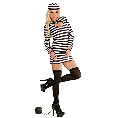 Amakando JGA Sträfling Kostüm - S (34/36) - Häftling Damenkostüm Gefangene Verbrecherin Knasti Junggesellenabschied Outfit Faschingskostüm Frauen Sexy Sträflingskostüm Damen