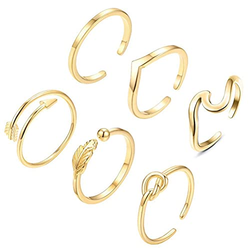 Eeauytr Juego de 6 anillos abiertos, anillos apilables, estilo bohemio, vintage, para mujer, con apertura ajustable, regalo de cumpleaños