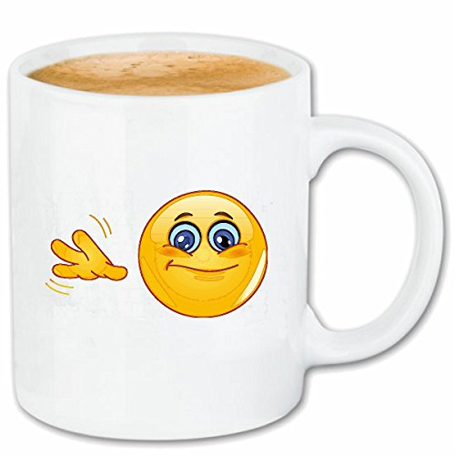 Reifen-Markt Kaffeetasse WINKENDER Smiley Smileys Smilies Android iPhone Emoticons IOS GRINSE Gesicht Emoticon APP Keramik 330 ml in Weiß