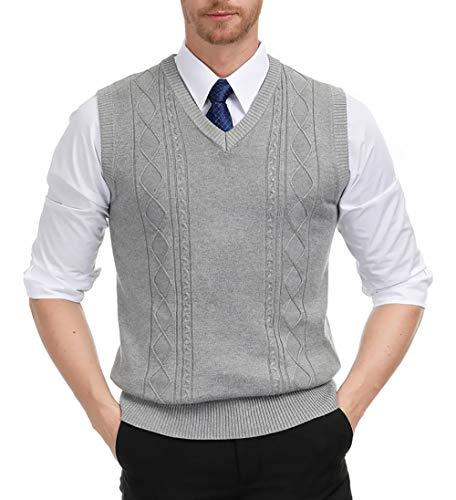 PJ PAUL JONES Mens Lightweight Sweater Vest V Neck Twisted Fine Knit Pullover Waistcoat Gray S