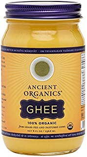 Organic Original Grass-fed Ghee, Butter by ANCIENT ORGANICS, 8 oz., Pasture Raised, Non GMO, Lactose - Casein - Gluten FREE, Certified KOSHER - 100% Organic Certified - USDA Approved (In Gift Box)