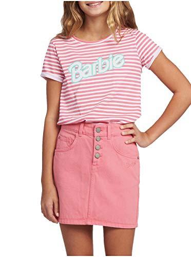 Roxy Kids Girl's Barbie Surfing Girl Denim Skirt (Big Kids) Pink Lemonade LG (12 Big Kids)