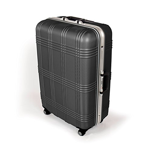 MasterGear Luggage with ABS Hard Shell and Aluminium Frame – Size L (75.5 x 51.5 x 29 cm ) Suitcase with 4 Spinner Wheels (360 degrees) in Black – TSA Lock