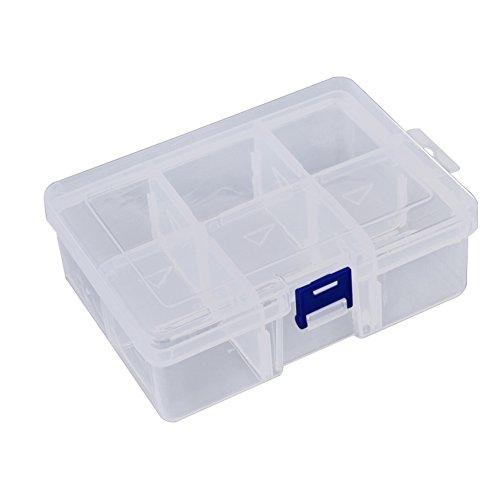 Demiawaking 6Raster Aufbewahrungsbox mit Deckel, transparent Kunststoff Hülle Schmuck Ohrringe Kunsthandwerk Werkzeug Hardware Container Organisierer