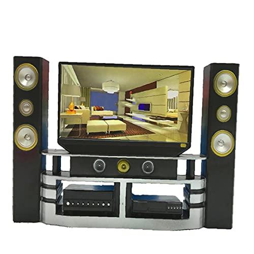 MaylFre 1 PC Mini Hi-Fi TV de Cine en casa Gabinete Combinado Determinado para los Kits de Herramientas cosméticas Regalo Mini muñeca para niños