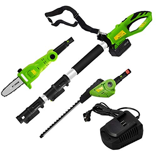 Great Price! 8 Inch 20V Cordless Electric Pole Saw and Hedge Trimmer 2 In 1 With Extension Pole,4.0A...