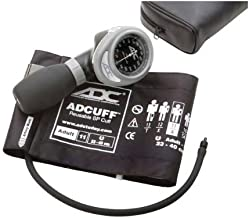 ADC Diagnostix 703 Palm Style Aneroid Sphygmomanometer with Adcuff Nylon Blood Pressure Cuff, Adult, Black
