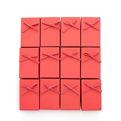 LASE C9, Caja de Regalos Originales, Cajita Elegante para Joyas y Accesorios de Mujer. Envoltorio perfecto para regalo de pequeñas dimensiones. Organizador Joyero. (Lazo rojo)