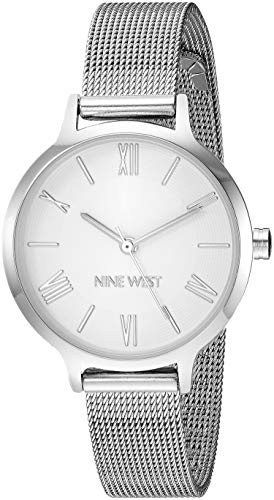 Nine West Women's NW/2229SVSV Silver-Tone Mesh Bracelet Watch