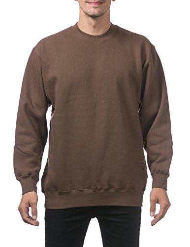 Pro Club Men's Heavyweight 13oz Crew Neck Fleece Pullover Sweatshirt, Large, Brown