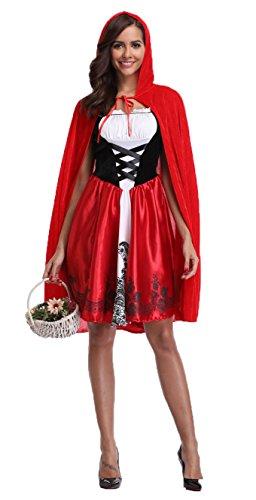 I-CURVE womens storybook fiaba Cappuccetto Rosso Halloween completa del partito del costume di formato 48