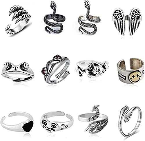 Set di 12 anelli in stile vintage, con motivo a forma di animale aperto, placcati in argento, per donne e uomini, ragazze, hippie e serpenti
