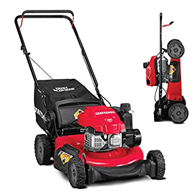 CRAFTSMAN 11A-U2V2791 3-in-1 149cc Engine Gas Powered Push Lawn Mower with Vertical Storage - Contractable Mower for Ease of Storage, Liberty Red,Red and Black