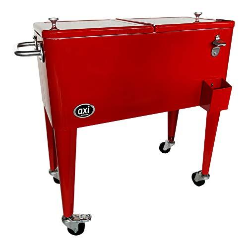 AXI Retro Getränkekühler Rot | Kühlwagen / Kühler mit Rollen - 76 Liter | Fahrbare Kühlbox für den Garten / Outdoor