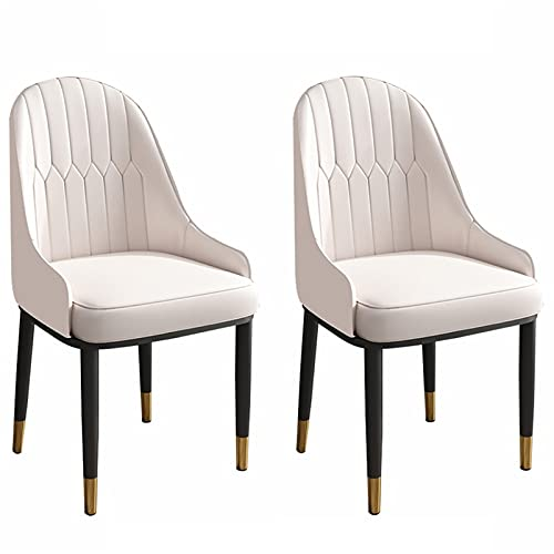 ADGEAAB Juego de 2 sillas de cocina, de cuero, con respaldo alto, suave, sillas de salón, sillas laterales con patas de metal para oficina, salón, comedor, cocina, dormitorio (color: beige)