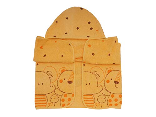 Ti TIN Capa de Baño de Bebé Toalla con Estampado y Capucha 100% Algodón, Color Naranja, 100x100 cm