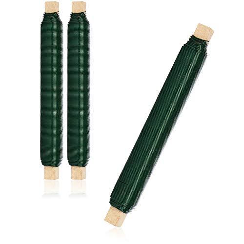 com-four® 3X Blumenwickeldraht-Set, Bindedraht in grün auf Holzstab gewickelt, Stärke 0,65 mm, 180 g
