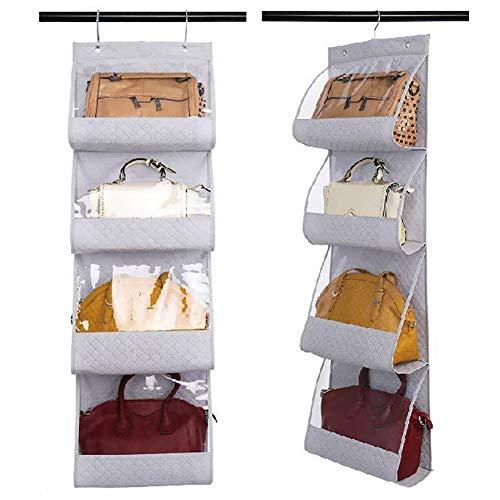 Yoommd Organizador plegable para bolsos de mano, 2 unidades, con 4 compartimentos, con ventana transparente, organizador para colgar bolsos