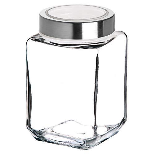 KADAX Tarro de cristal con tapa de plástico, recipiente de alimentos de cristal, bote para pasta, espaguetis, especias, tarro de conserva, transparente, hermético (500 ml, blanco)