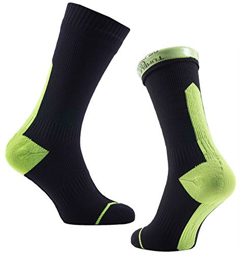 SealSkinz Road Thin Mid Hydrostop Socks - Black/Acid, Medium/Waterproof Water Rain Repellent Resistant Footwear Mountain Commute Bike Cycling Cycle Walking Walk Hiking Hike Sport Trail Foot Wear