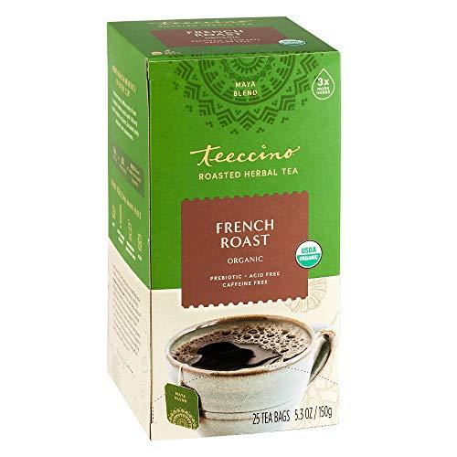 Teeccino Herbal Tea – French Roast – Rich & Roasted Herbal Tea That's Caffeine Free & Prebiotic for Natural Energy, Coffee Alternative, 25 Tea Bags