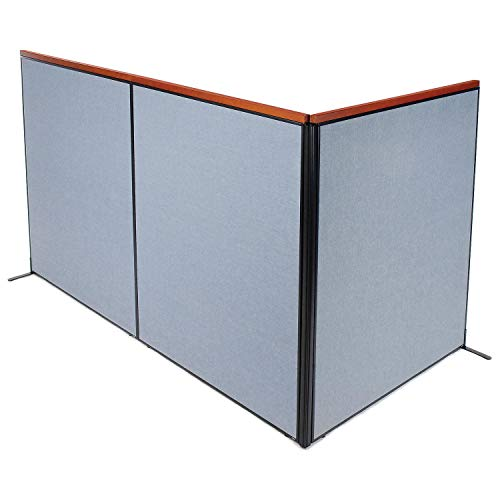 Best Buy! 60-1/4W x 73-1/2H Deluxe Freestanding 3-Panel Corner Room Divider, Blue