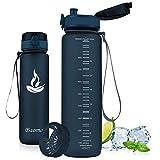 Baomay Botella de Agua Deportiva 350ml, Adultos/Niños Bottle con Filtro, Bidon de Bebidas Plástico Tritan, para Gimnasio, Ciclismo, Trekking | Sin-BPA & Impermeable & Reutilizable (Arándano)