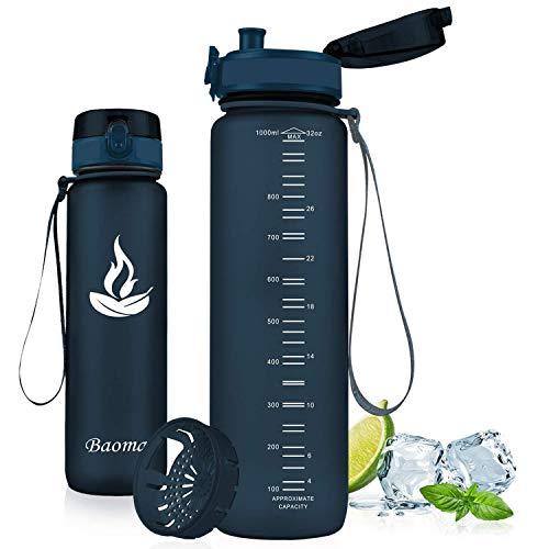 Baomay Botella de Agua Deportiva 750ml, Adultos/Niños Bottle con Filtro, Bidon de Bebidas Plástico Tritan, para Gimnasio, Ciclismo, Trekking | Sin-BPA & Impermeable & Reutilizable (Arándano)