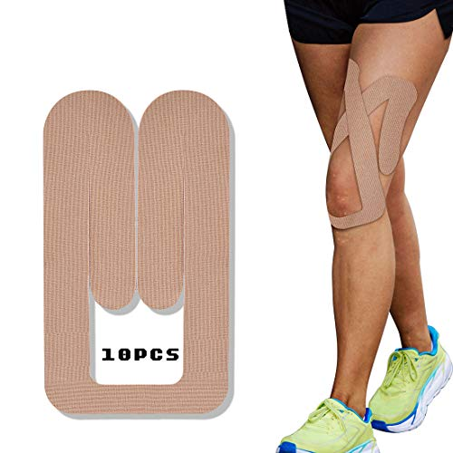 Sports Kinesiology Tape 10 Pcs Breathable Water Resistant Pre-Cut Sports Tape for Knee, Patella and Meniscus SP156