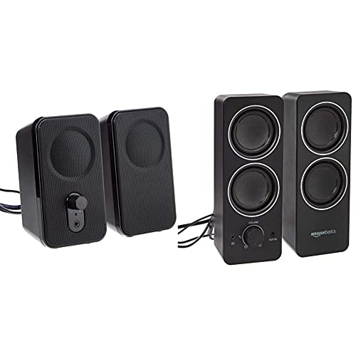 Amazon Basics Computer Speakers for Desktop or Laptop PC   AC-Powered (US Version) & AC Powered PC Multimedia External Speakers
