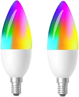 LED Smart Light Bulb Dimmable Color Changing E12 Candelabra Bulb APP Controlled with Timer Compatible with Alexa Google Assistant Daylight and Warm White 2700-6500K 40 Watt Equivalent 2 Pack