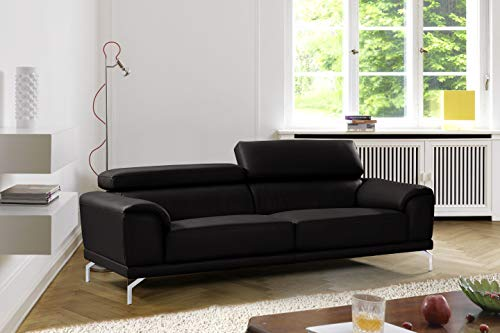 Mobilier Deco Canapé Design 3 Places Carlo en Simili Cuir Noir